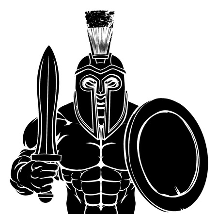 A Spartan or Trojan warrior cartoon sports mascot  イラスト・ベクター素材