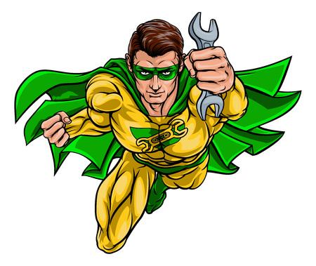 Mechanic Plumber Superhero Holding Wrench Spanner Çizim