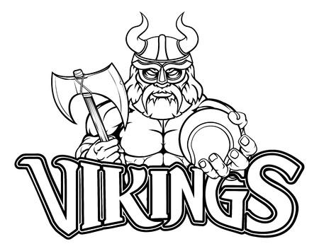 Viking Tennis Sports Mascot Çizim