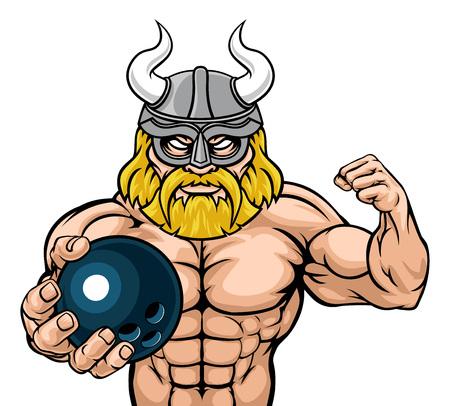 Viking Bowling Sports Mascot Çizim