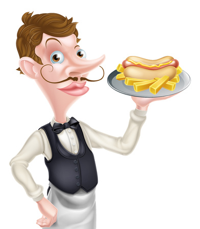 An Illustration of a Cartoon Waiter Butler Holding Hotdog and Fries
