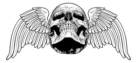Winged Skull Vintage Woodcut Illustration Çizim