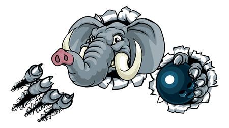 Elephant Bowling Ball Sports Animal Mascot Çizim