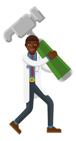 Black Doctor Man Holding Hammer Mascot Concept