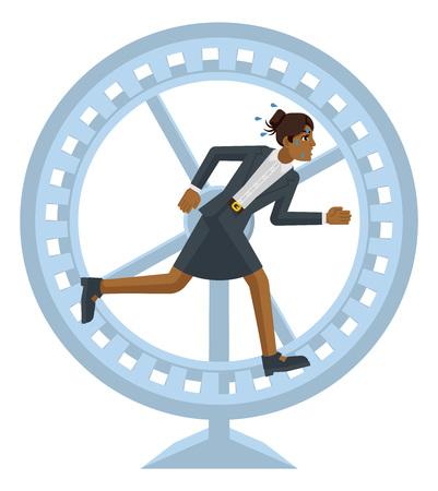 Biznes kobieta koncepcja stresu koło chomika