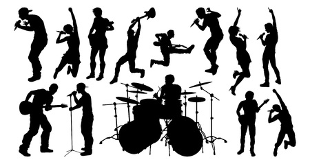 Musicians Guitarist Signer Drummer Silhouettes
