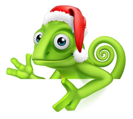 Chameleon Christmas Santa Hat Pointing at Sign Illustration