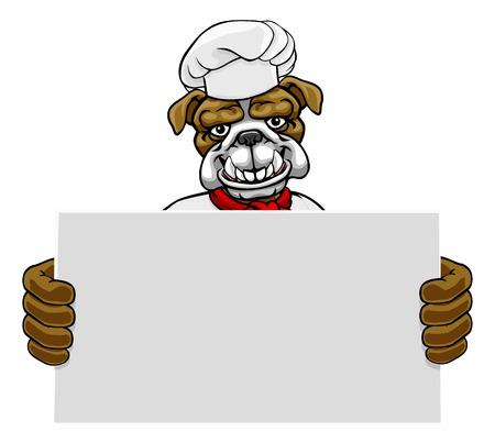 Bulldog Chef Cartoon Restaurant Mascot Sign