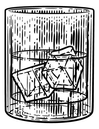 Bebida con hielo en vidrio Grabado en madera Grabado Aguafuerte