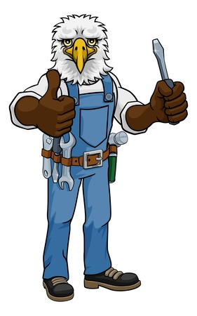 Eagle Electrician Handyman Holding Screwdriver  イラスト・ベクター素材