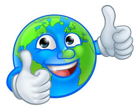 Earth Globe World Mascot Cartoon Character Illustration