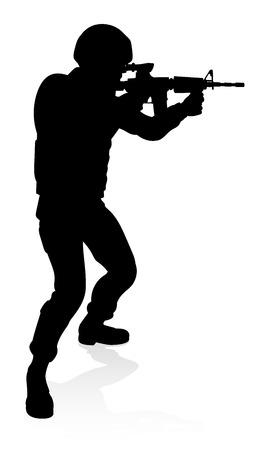 Silhouette Soldier Stock Illustratie