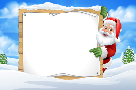 Santa Claus Sign Christmas Snow Scene Cartoon