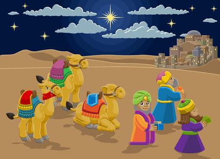 Nativity Scene Wise Men Christmas Cartoon