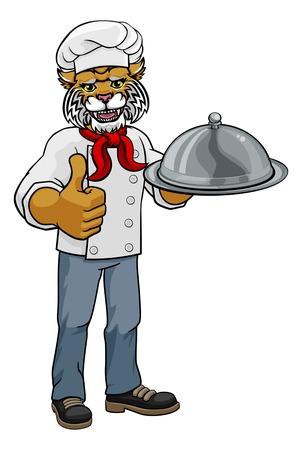 Wildcat Chef Mascot Cartoon Character Ilustração