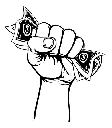 Fist Hand Holding Cash Money Stock Illustratie