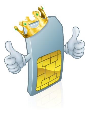 Sim Card Mobile Phone King Cartoon Mascot