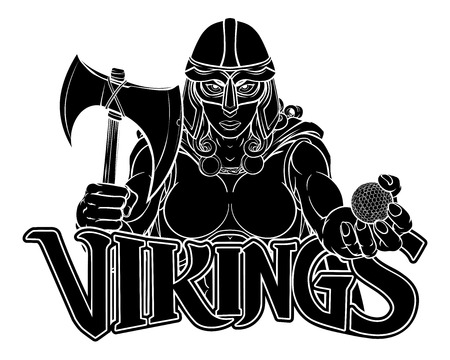 Viking Trojan Celtic Knight Golf Warrior Woman Stok Fotoğraf - 130165561