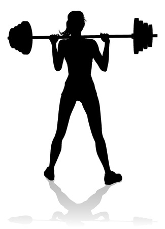 Gym Woman Silhouette Barbell Weights Stok Fotoğraf - 130165563
