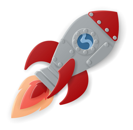 Space Rocket Ship Cartoon Paper Craft Style