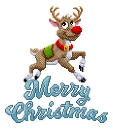 Santa Claus Reindeer Merry Christmas Pixel Art Stok Fotoğraf - 130165575