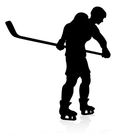 Ice Hockey Sports Player Silhouette Stok Fotoğraf - 130165774