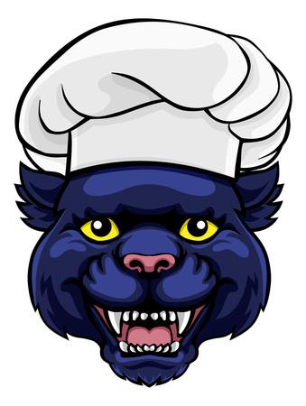 Personnage de dessin animé de mascotte de chef de panthère