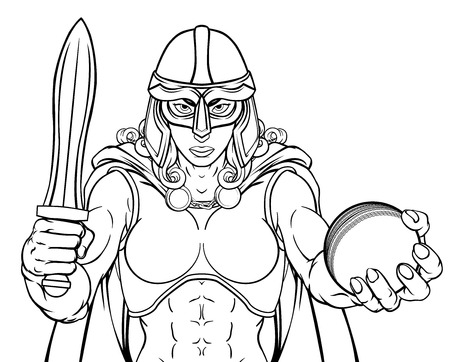 Viking Trojan Celtic Knight Cricket Warrior Woman Illusztráció