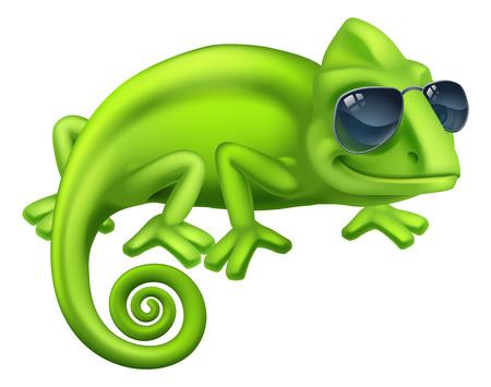 Chameleon Cool Shades Cartoon Lizard Character