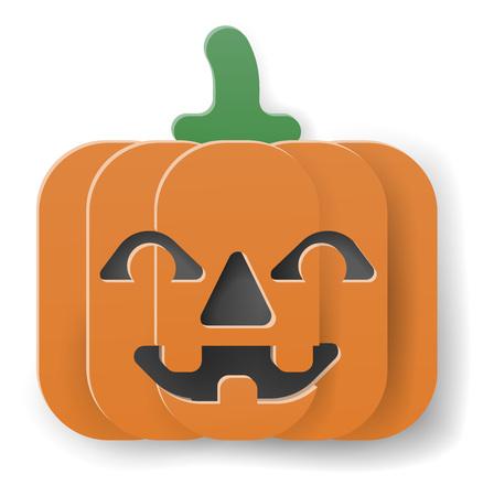 Halloween Pumpkin Cartoon in Paper Craft Style Illustration