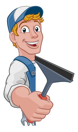Cartoon Window Cleaning Squeegee Car Wash Cleaner Ilustracja