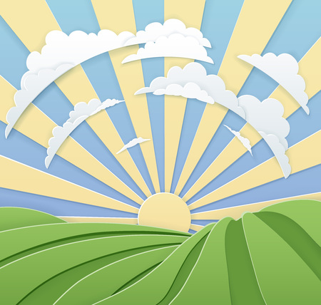 Field Rolling Hills Sunrise Sky Paper Craft Style Иллюстрация