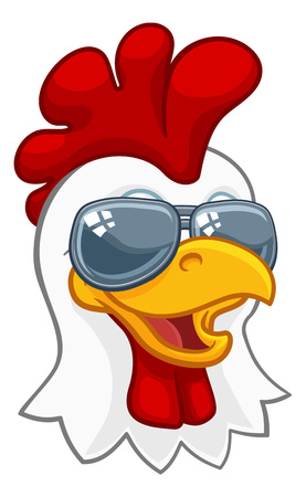 Chicken Rooster Cockerel Bird Sunglasses Cartoon Stock Illustratie