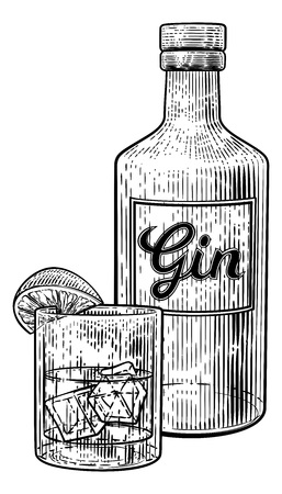 Gin Cocktail Bottle Glass and Ice Vintage Woodcut Çizim