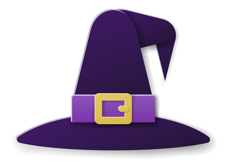 Halloween Witch Hat in Paper Craft Style Stok Fotoğraf - 130165800