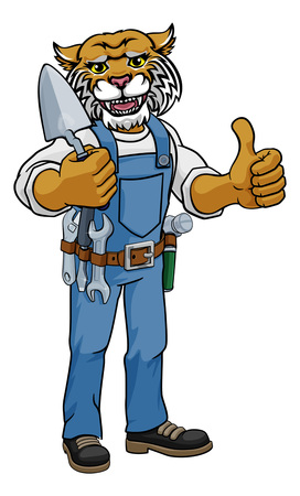 Wildcat Bricklayer Builder Holding Trowel Tool