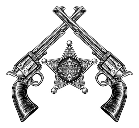 Pistolas cruzadas y insignia de la estrella del sheriff Ilustración de vector
