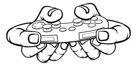 Gamer Hand Holding Contrôleur de jeu de jeu vidéo