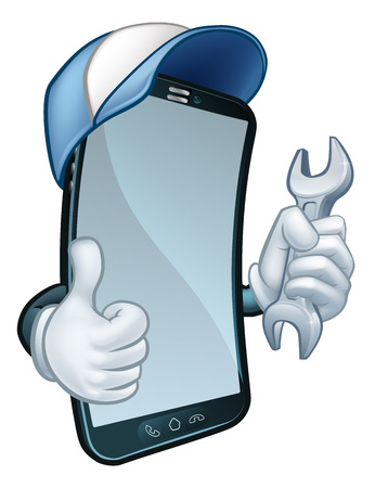 Mobile Phone Repair Spanner Thumbs Up Cartoon Stok Fotoğraf - 131187722