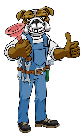 Bulldog Plumber Cartoon Mascot Holding Plunger