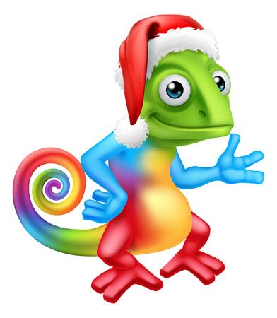 Christmas Rainbow Chameleon in Santa Hat Cartoon 일러스트