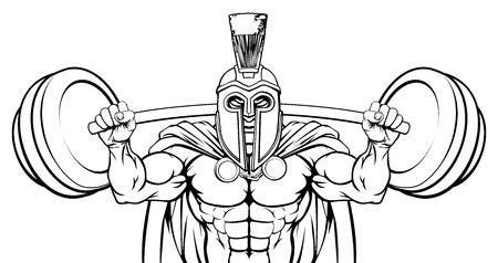 Spartan Trojan Weight Lifting Body Building Mascot  イラスト・ベクター素材