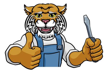 Wildcat Electrician Handyman Holding Screwdriver Stok Fotoğraf - 131195196