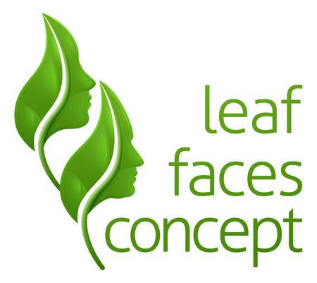 Optical Illusion Leaf Faces Concept