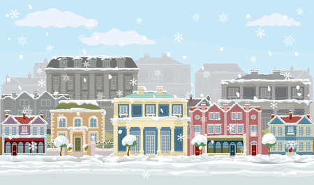 Christmas Snow Houses and Shops Street Scene Иллюстрация