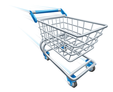 Fast Shopping Cart Trolley At High Speed Illustration