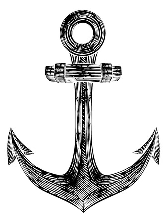 Anchor from Boat or Ship Tattoo Drawing Ilustração