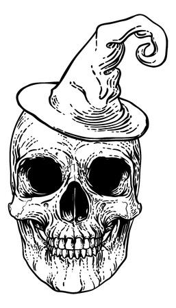 Halloween Witch Hat Skull