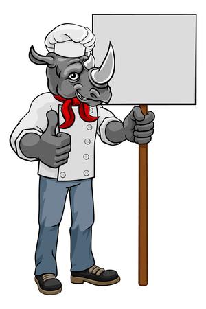 Rhino Chef Cartoon Restaurant Mascot Sign Фото со стока - 131463222