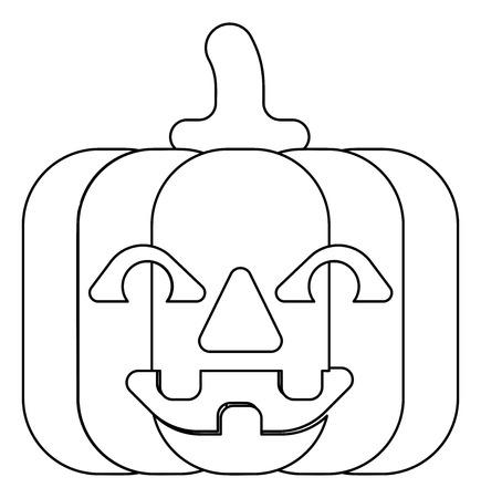 Halloween Pumpkin Cartoon in Outline Ilustração